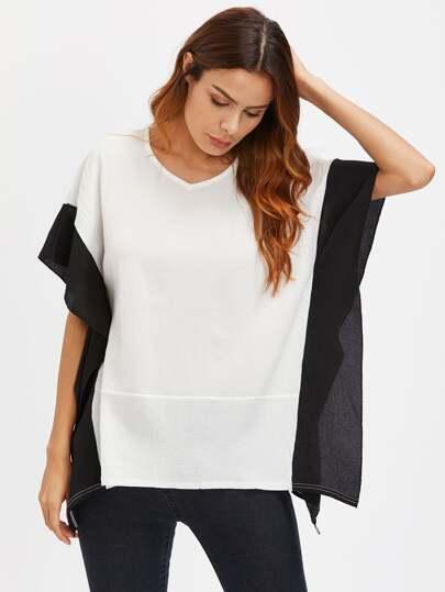 Blusa estilo caftán con cuello en V en color block