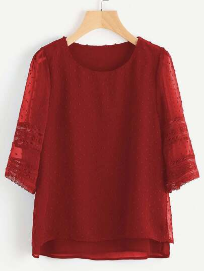 Hollow Out Lace Insert Dobby Chiffon Overlay Blouse