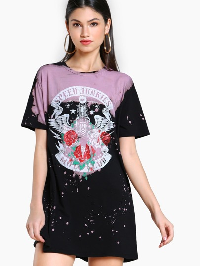 Motorcycle Acid Splatter Tunic Dress BLACK PINK
