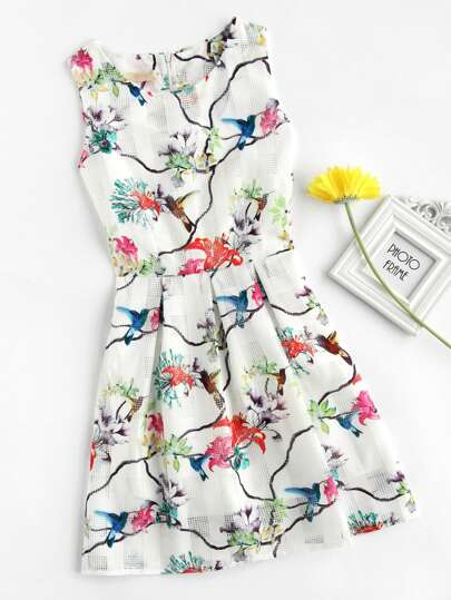 Watercolor Painting Print Fit & Flare Dress
