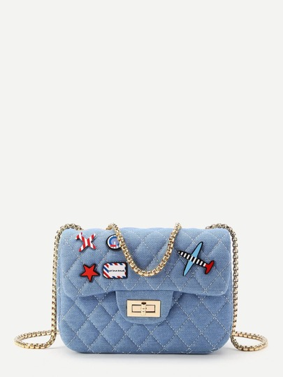 Star And Airplane Patch Quilted Denim Bag