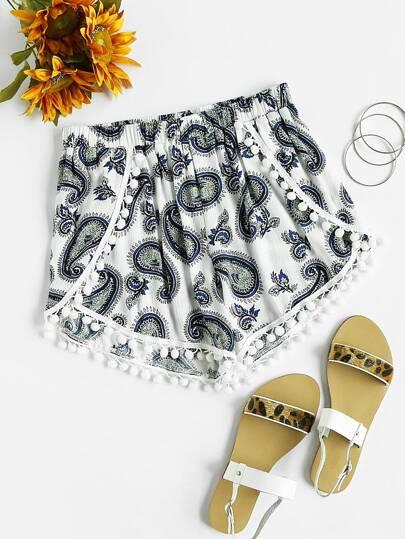 Pom Pom Trim Paisley Print Wrap Shorts