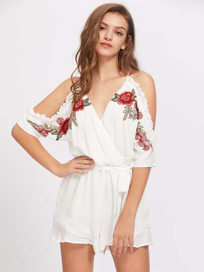 Cold Shoulder Frill Trim Tie Waist Playsuit