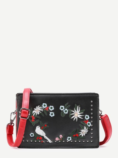 Flower Embroidery PU Crossbody Bag With Studded