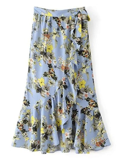Knot Detail Ruffle Trim Wrap Skirt
