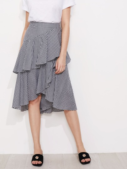 Asymmetric Flounce Trim Gingham Skirt