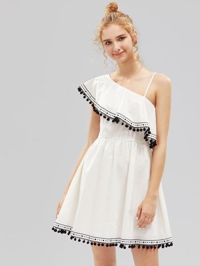 Asymmetric Frill Shoulder Pom Pom Trim Dress