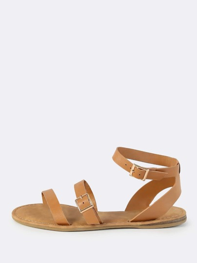 Triple Ankle Strap Sandals TAN