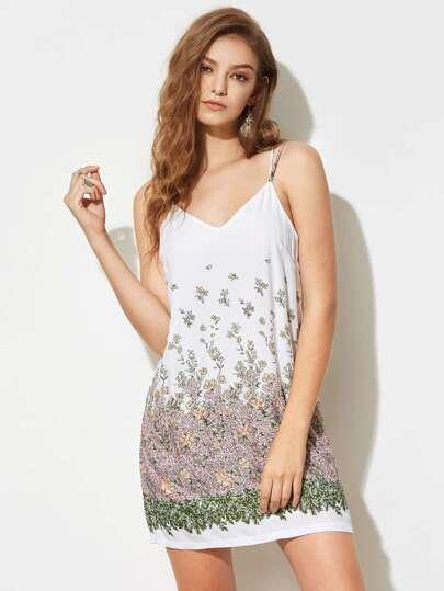 Cami Kleid mit Calicomuster