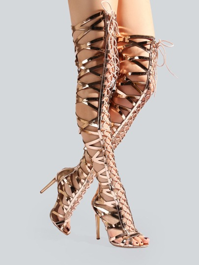 Metallic Caged Thigh High Heels ROSE GOLD