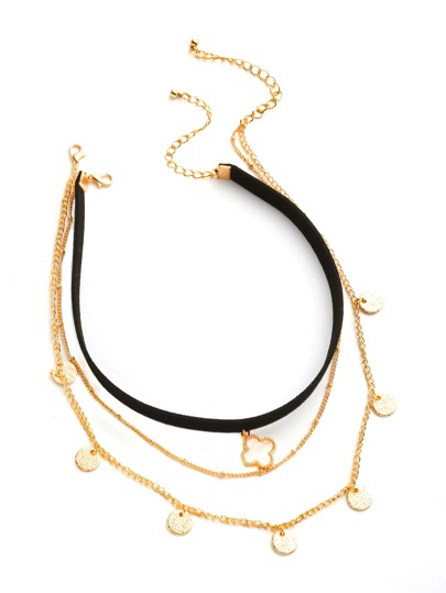 Clover Detail Velvet Choker With Chain Necklace 3pcs