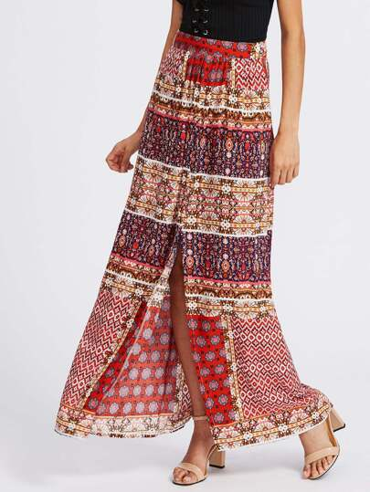 Split Front Tribal Print Skirt