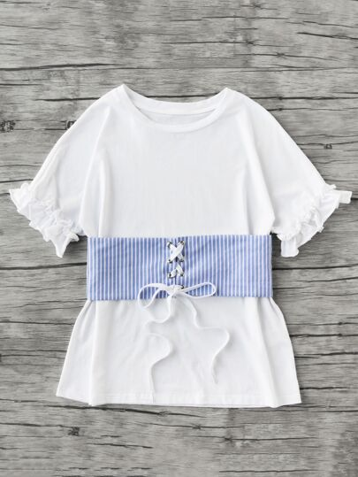 Ruffle Sleeve Tee With Lace Up Pinstripe Belt
