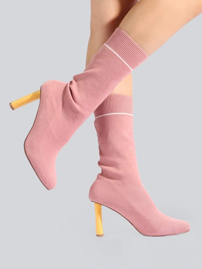 Peep Toe Sock Booties MAUVE