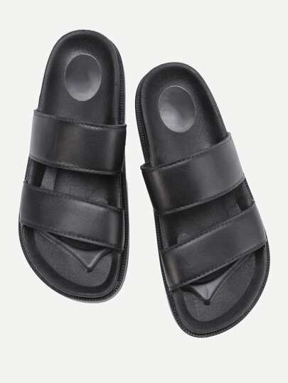 Open Toe PU Flat Slides