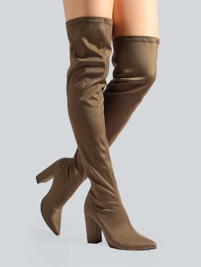 Sleek Point Toe Thigh Highs KHAKI