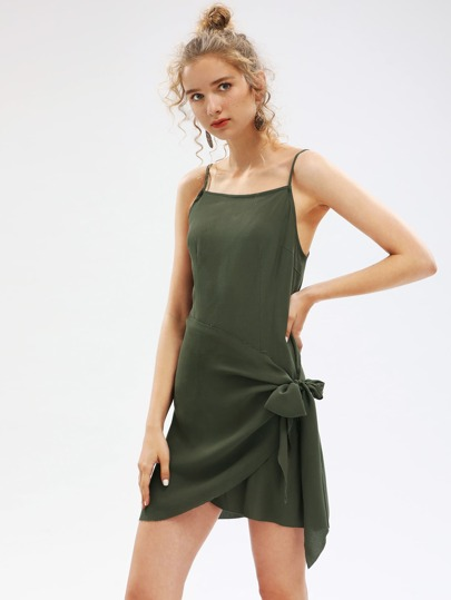 Self Tie Overlap Cami Dress