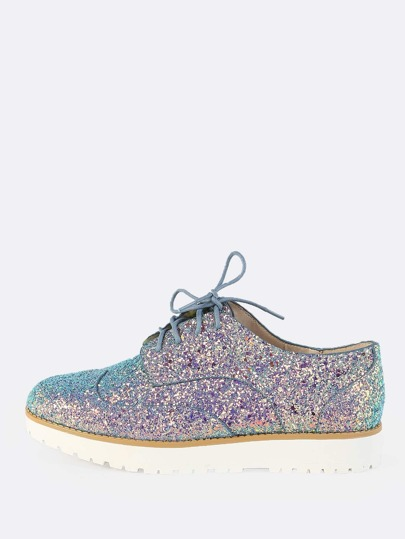 Glitter Lace Up Oxfords ICE BLUE