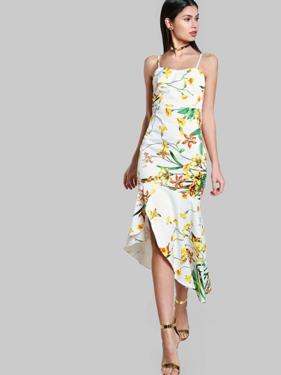 Tropical Print Mermaid Dress OFF WHITE