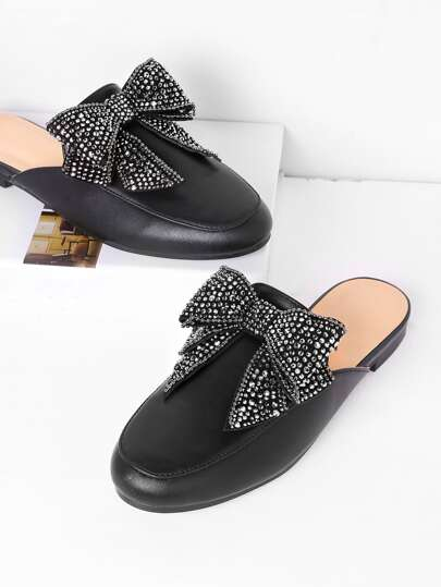 Bow Tie PU Loafer Slippers
