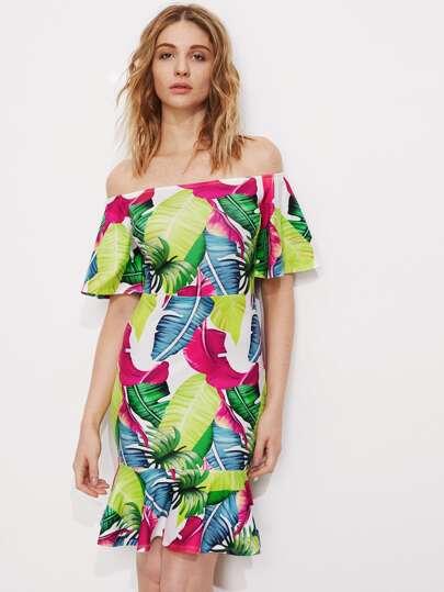 Palm Leaf Print Bell Sleeve Tiered Hem Dress