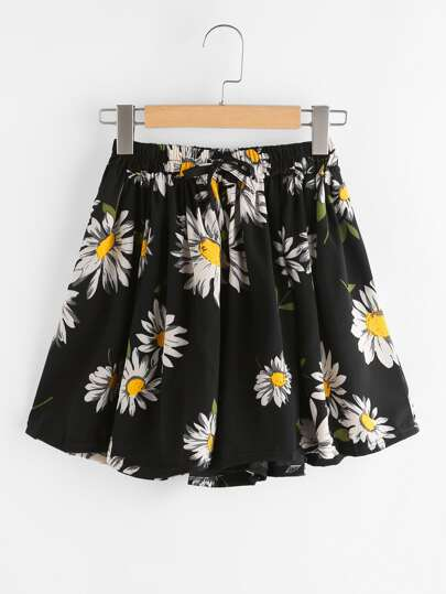 Daisy Print Drawstring Shorts