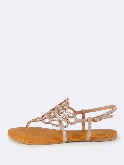 Metallic Cutout Thong Sandals ROSE GOLD