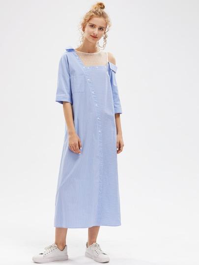 Dot Mesh Insert Asymmetric Shoulder Striped Shirt Dress