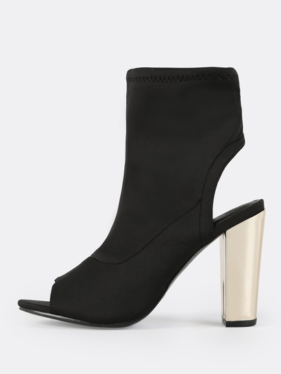 Peep Toe Metallic Booties BLACK