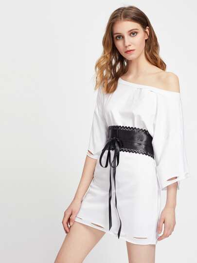 Scalloped Trim Obi Belt
