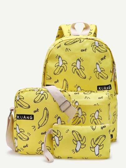 Banana Print Canvas Combination Bag 3pcs