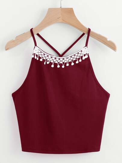Contrast Crochet Trim Cami Top