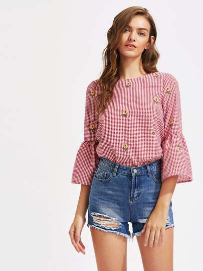 V Cut Tie Back Bell Sleeve Daisy Embroidered Checkered Top