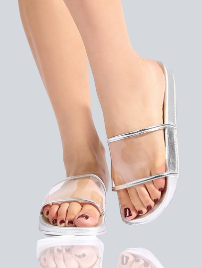 Clear Metallic Sandals SILVER