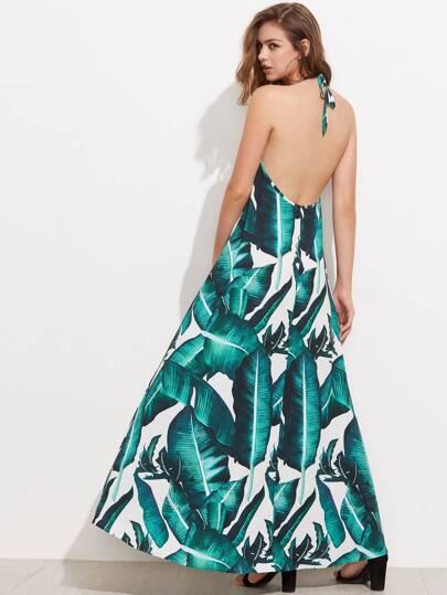 Jungle Leaf Print Lace Up Plunge Halter Neck Dress