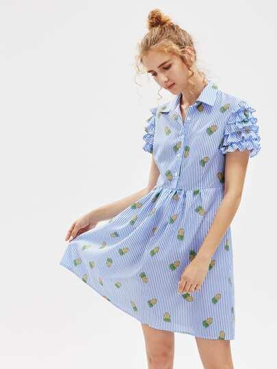 Pineapple Print Layered Ruffle Sleeve Half Placket Smock Dress