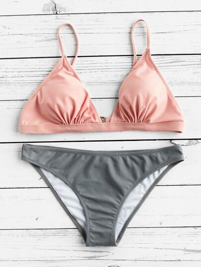 Two Tone Triangle Bikini Set