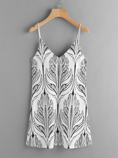 Double V-neckline Seamless Pattern Cami Dress