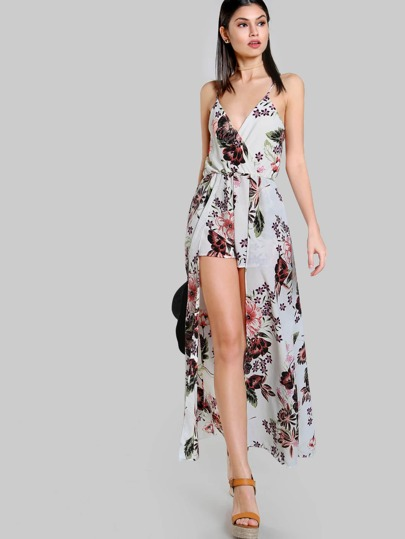 Floral Print Spaghetti Strap Romper Dress IVORY