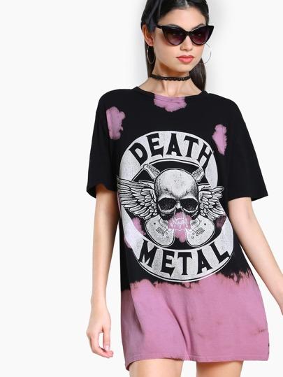 Death Metal Bleach Splatter Top BLACK PINK
