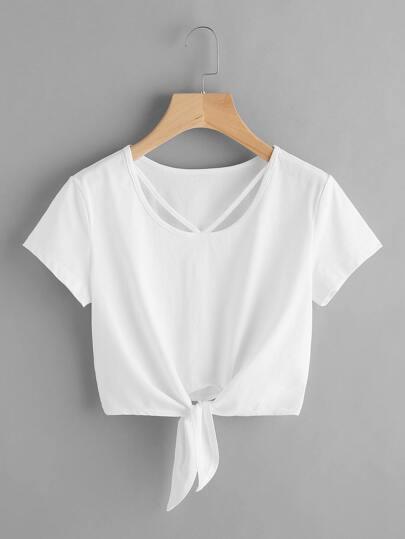 Tee-shirt à bretelle en V avec nœud