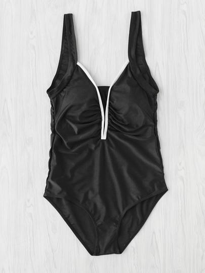 Contrast Plunge Neckline Ruched Swimsuit