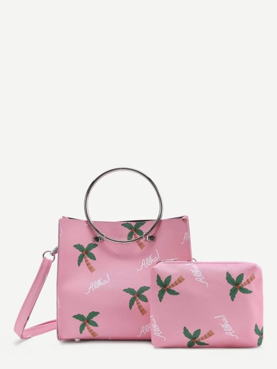 Palm Tree Print PU Shoulder Bag With Clutch