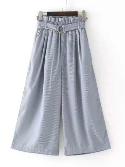 Tie Waist Wide Leg Pants With Ring Detail