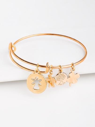 Clover Embellished Metal Bracelet
