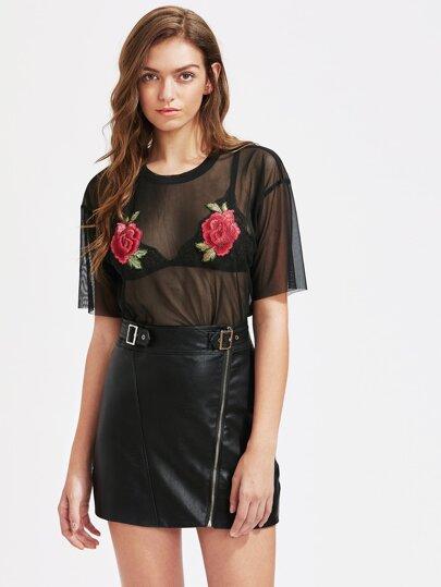 Embroidered Rose Applique Drop Shoulder Mesh Top