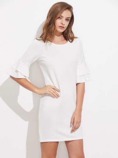 Tiered Flute Sleeve Slim Dress