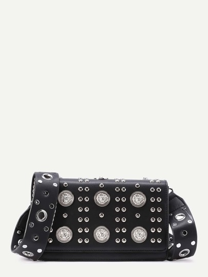 Studded And Grommet Decorated Crossbody Bag