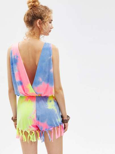 Knotted Fringe Trim V Back Pastel Tie Dye Blouson Romper