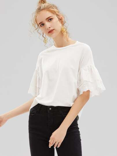Layered Eyelet Embroidered Ruffle Sleeve T-shirt